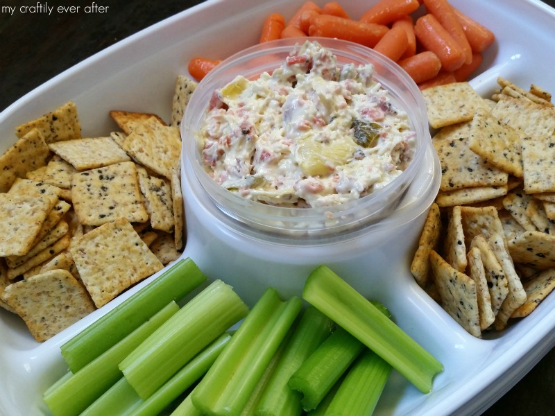 smoked salmon dip in a Rubbermaid party platter