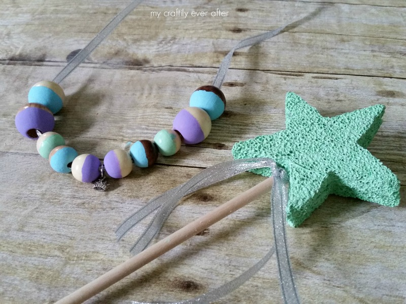 wood bead necklace and wand