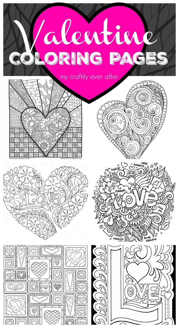 Printable Valentine\'s Day Coloring Pages - My Craftily Ever After
