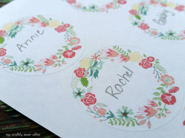 valentine floral treat labels