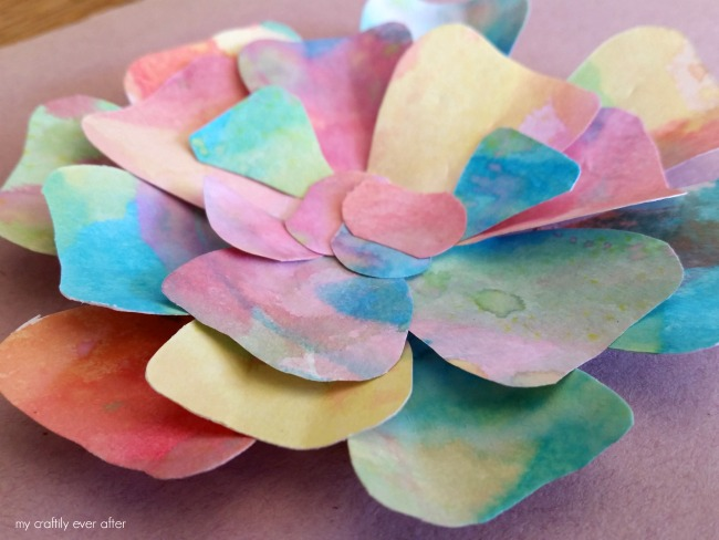 three dimensional flowers for an eric carle watercolor garden