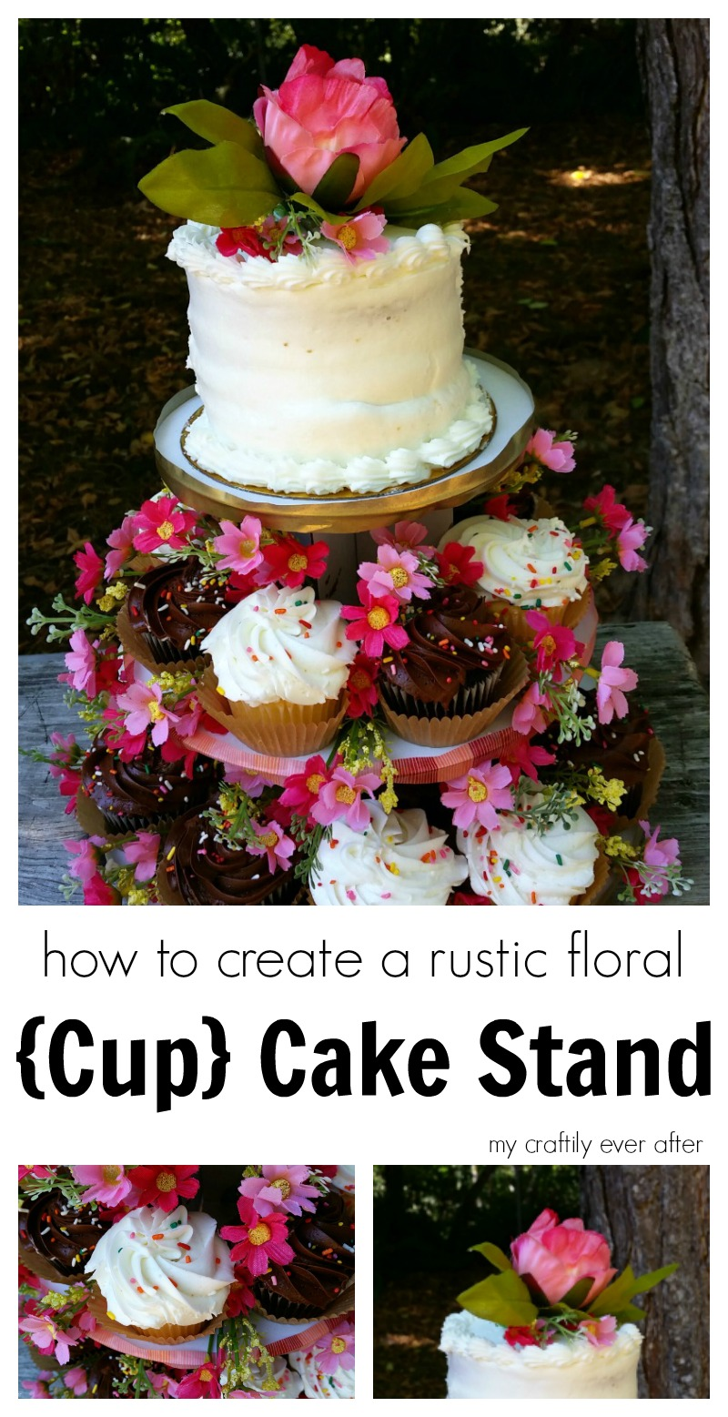 how to create a rustic floral cupcake stand