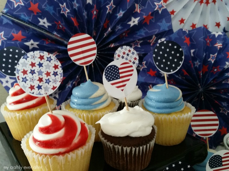 Printable Patriotic Cupcake Toppers