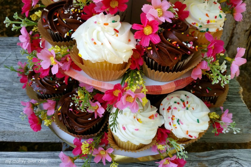 rustic floral party cup cake stand