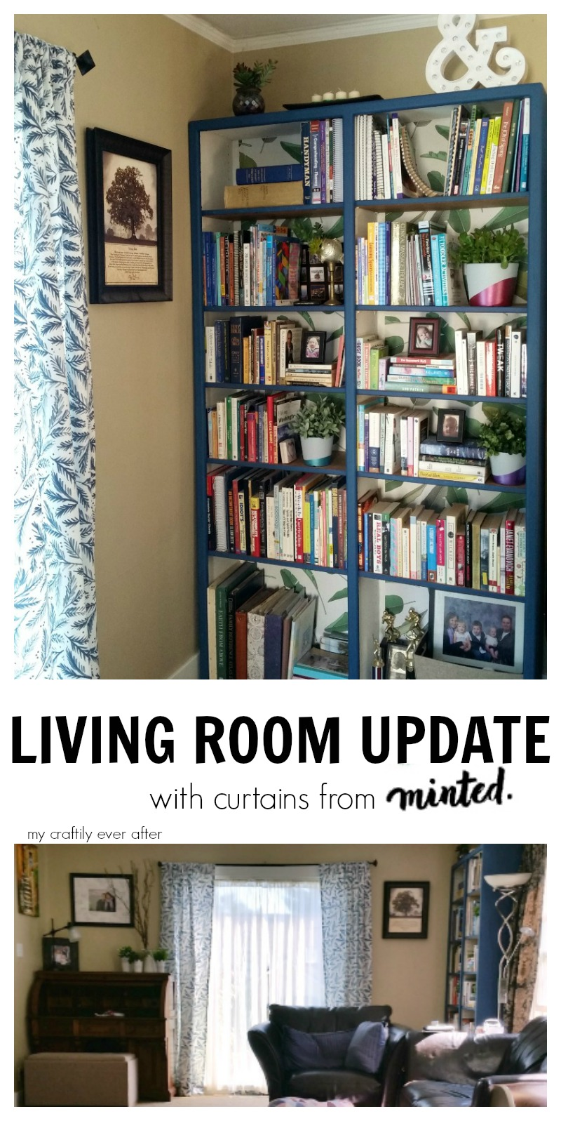living room update with curtains from minted
