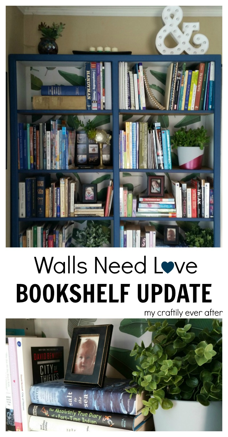walls need love bookshelf update my craftily ever after. Black Bedroom Furniture Sets. Home Design Ideas