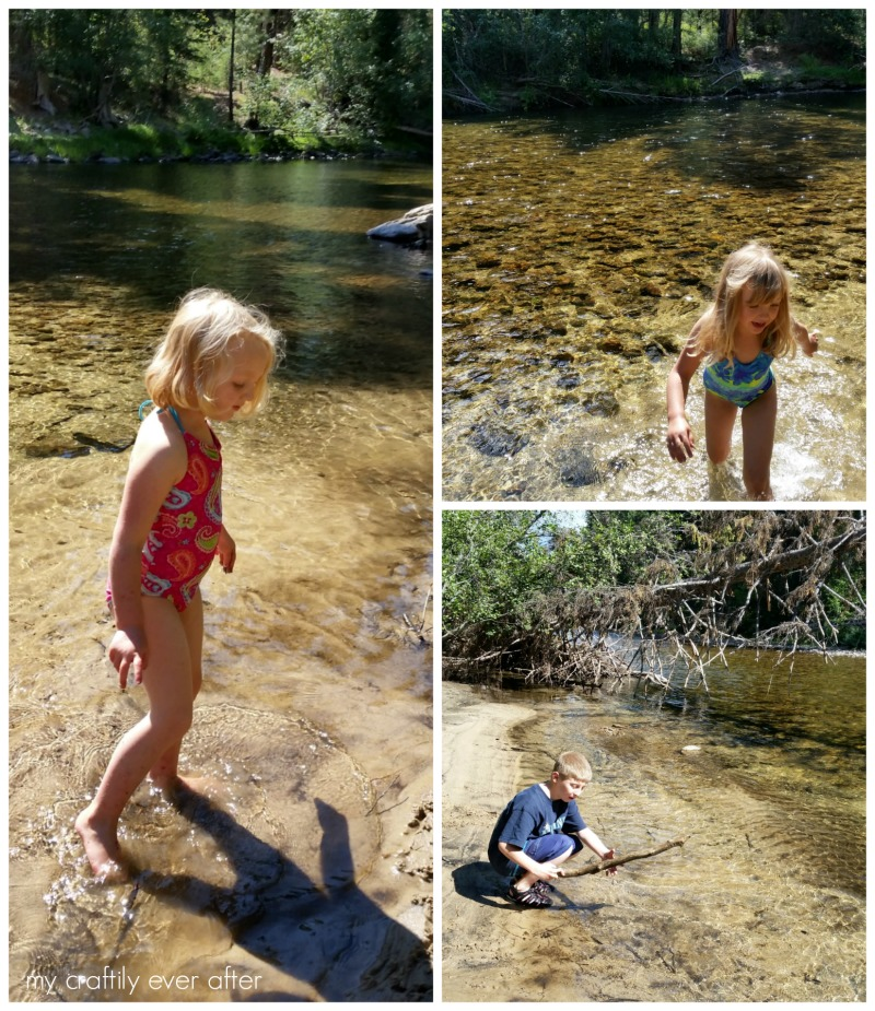 river fun and stick gathering