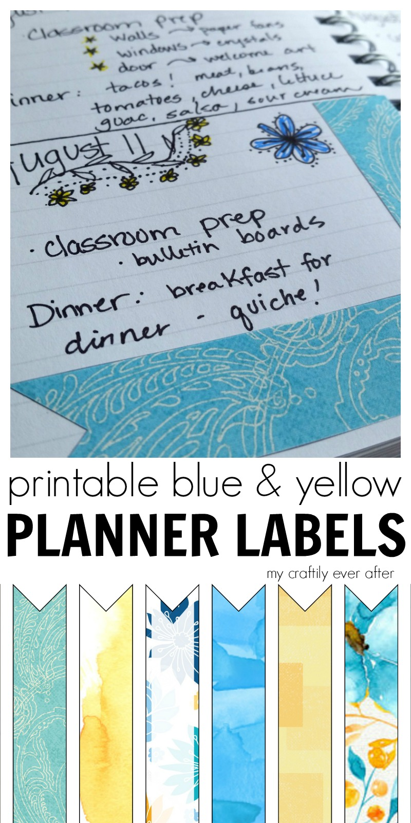 printable blue and yellow planner labels