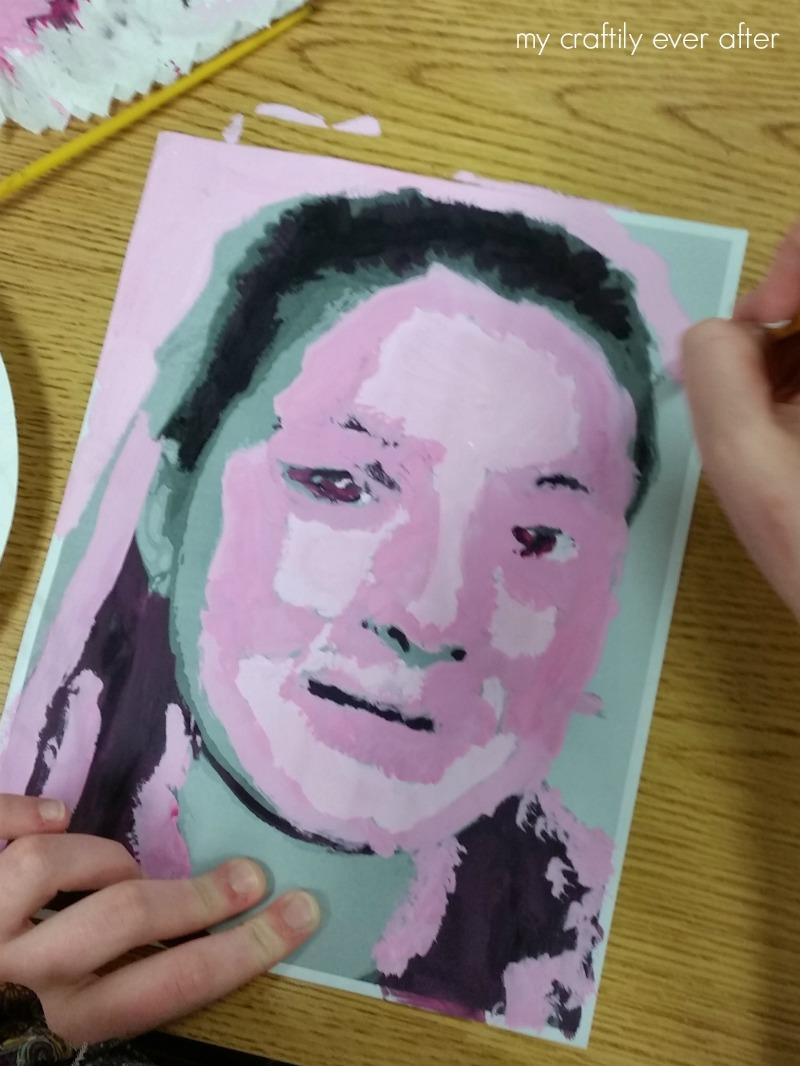 middle-school-art-monochromatic-self-portraits