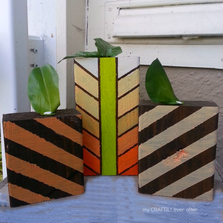 Easy Geometric Wooden Pumpkins