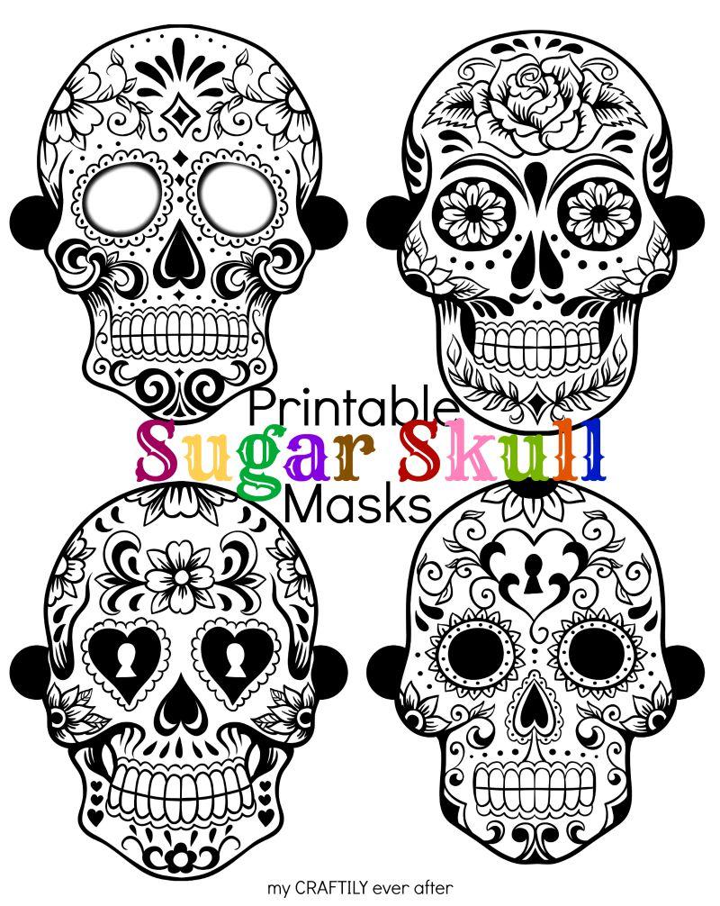 Sugar Skull Printable Halloween Masks
