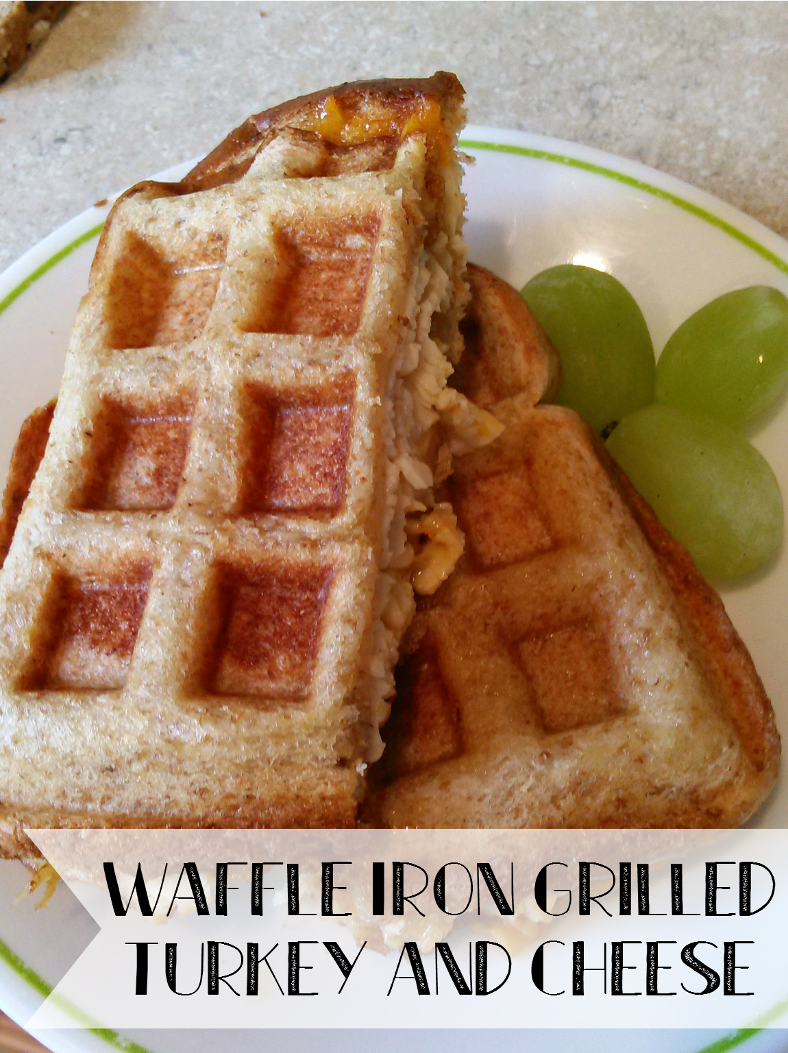 Waffle Iron Grilled Cheese and Turkey