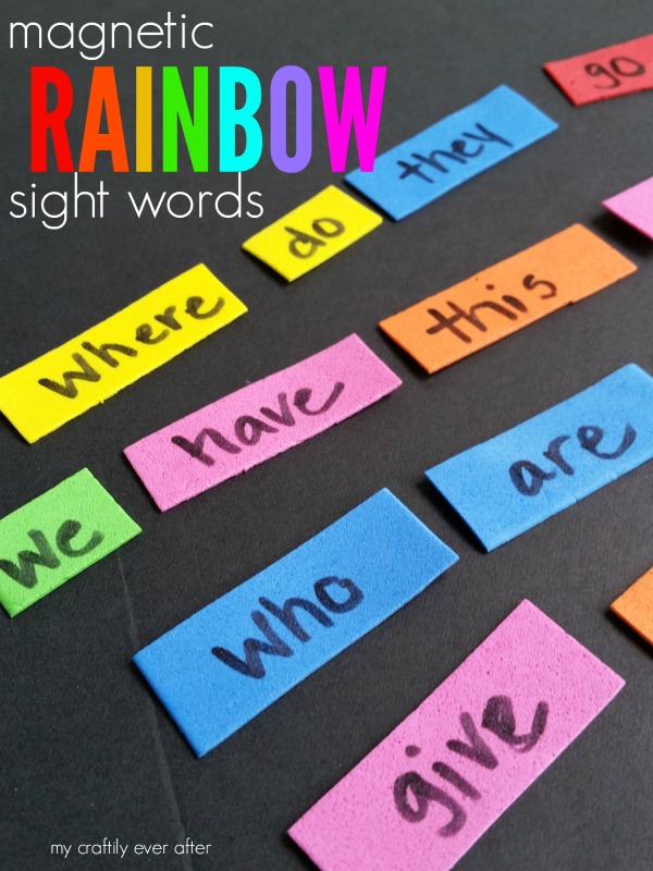 Magnetic Rainbow Words – craft lightning!