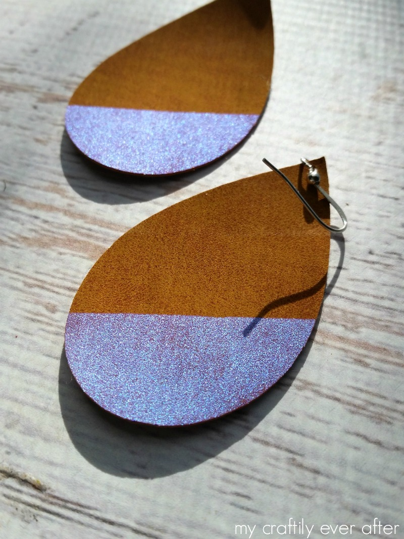 faux suede earrings made with cricut